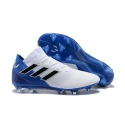 adidas Nemeziz Messi 18.1 FG Botas de Fútbol con Tacos Blanco Azul