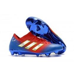 adidas Nemeziz Messi 18.1 FG Botas de Fútbol con Tacos Rojo Azul