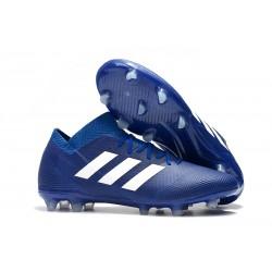 adidas Nemeziz Messi 18.1 FG Botas de Fútbol con Tacos Azul Blanco