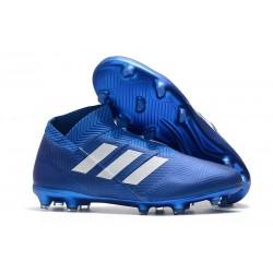 Zapatillas de Fútbol adidas Nemeziz 18 + FG Azul Blanco