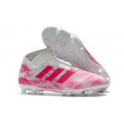Zapatillas de Fútbol adidas Nemeziz 18 + FG Rosa Blanco