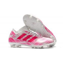 adidas Nemeziz Messi 18.1 FG Botas de Fútbol con Tacos Rosa Blanco