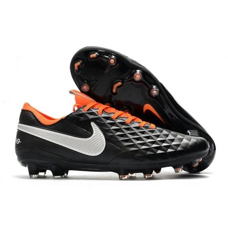 Tacos de Futbol Nike Tiempo Legend 8 Elite FG Negro Blanco Naranja