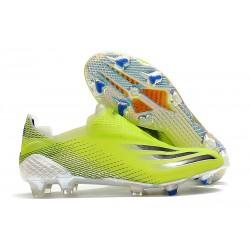 Bota de Fútbol adidas X Ghosted + FG Amarillo Solar Negro Azul Royal